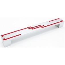 1004-192мм Ручка мебельная хром - красный