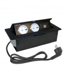 Встраиваемый настольный удлинитель  2 гнезда, 2USB, с кабелем Черный